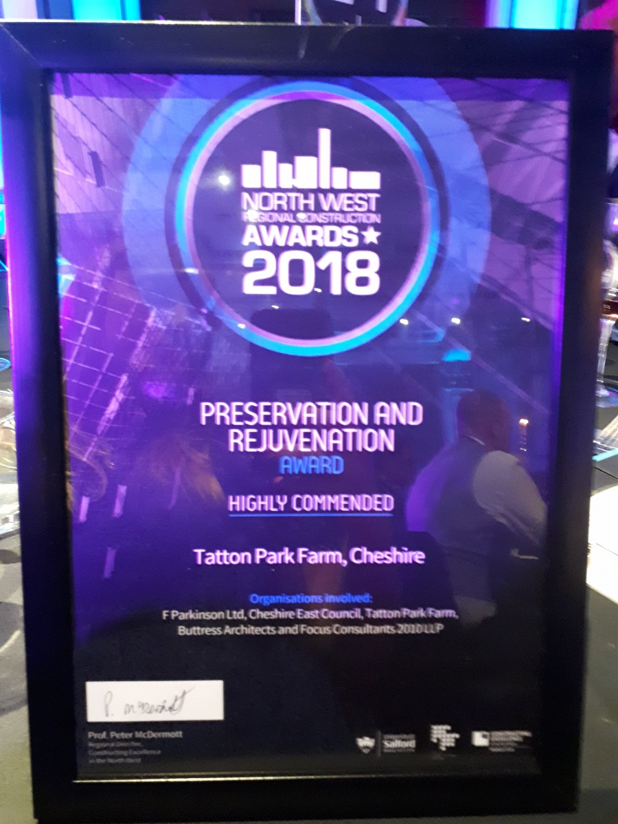Tatton Park Farm wins Highly Commended at North West Regional Construction Awards
